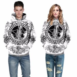 BW Skull Design Pullover Unisex Hoodie / Sweatshirt