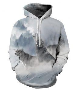 Unisex Pullover Hoodie Hooded Sweatshirt Polar Wolf