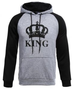 Grey Black King Design Unisex Hoodie Sweatshirt