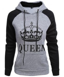 Grey Black Queen Design Unisex Hoodie Sweatshirt