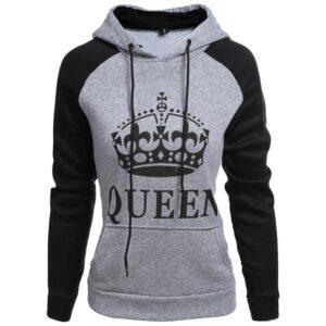 Grey Black Queen Design Unisex Hoodie Sweatshirt