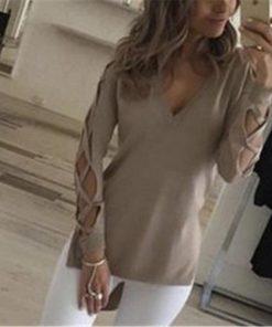 Sexy Women Gray V-Neck Split Tees Loose
