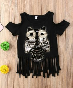 Casual Sequins Owl Printed Top for Toddler Infant Child Baby Girl