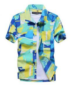 Cool Hawaiian Shirts Floral Block Print