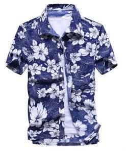 Floral Print Men Short Sleeve Shirt
