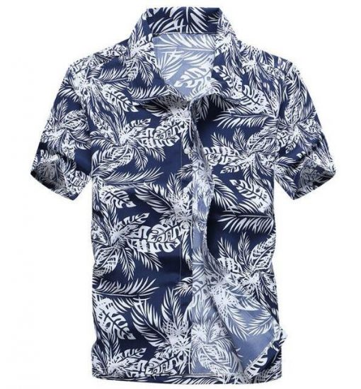 Hawaiian Shirt for Men Printed with white flowers