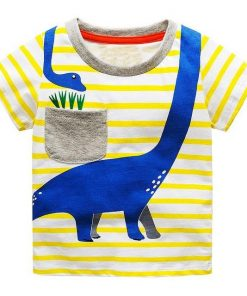 Buy Yellow Striped Round Neck Cotton T-Shirts for Boy