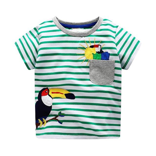 Green Striped Round Neck Cotton T-Shirts for Boy