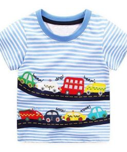 Car Toy Design Blue Striped Round Neck T Shirts for Boy