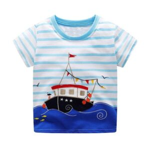 Blue Sea Ship Design Round Neck T-shirt for Boy kids