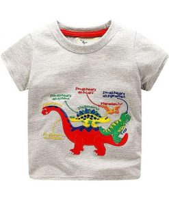 Off White Dinosaur Types Red Printed Round Neck Tees for Boys