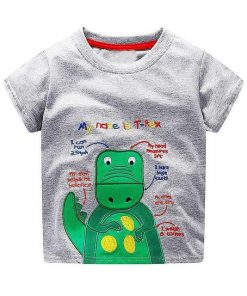Green and Gray Robot Design Print Round Neck Tees for Boys