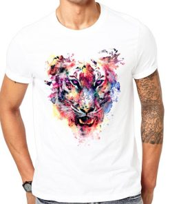 Roaring Tiger White Round Neck Cotton Unisex Tees