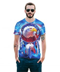 Digital Eagle 3D Printed Round Neck Colorful Tees for Men