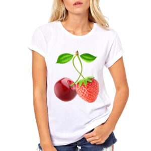 Buy White Cherry and Strawberry Printed Round Neck Tees for Women