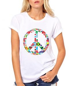 Buy White Cool Shirts New world Flag T-Shirt for Women