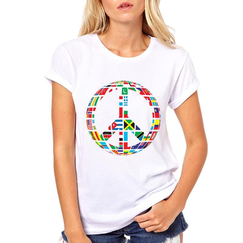 Buy White Cool Shirts New world Flag T-Shirt for Women